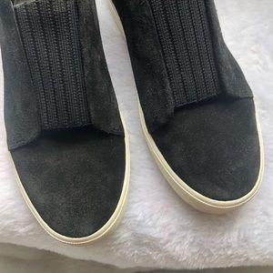 Vince Shoes - Vince Cantara Black Suede Slip On Sneakers